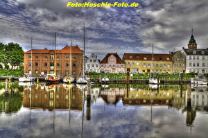 Images Germany Building River Sailing Sky Yacht Clouds HDR  Cities