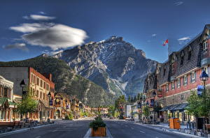 Pictures Canada Roads Houses Mountains Sky Street Clouds HDR Asphalt Banff Cities