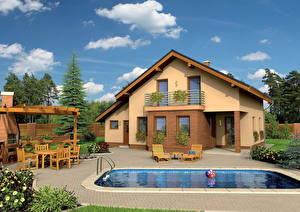 Image Building Sky Landscape design Mansion Pools Sunlounger Clouds Window Design Cities 3D_Graphics