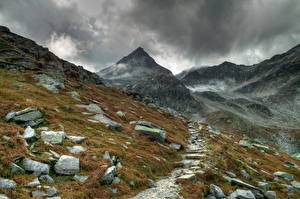 Fotos & Bilder Gebirge Steine Österreich Gras Wolke Alpen Natur