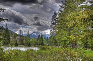 Image Park Sky Mountains Canada Trees Clouds HDR Banff Nature