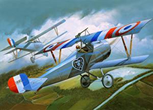 Hintergrundbilder Flugzeuge Gezeichnet Retro Flug Nieuport 17