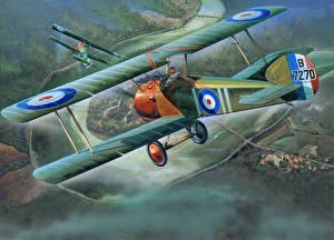Fotos Flugzeuge Gezeichnet Antik Flug Sopwith Camel F.1 Luftfahrt