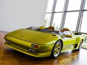Hintergrundbilder Lamborghini Auto Scheinwerfer Vorne Gelbgrüne Cabrio Luxus Roadster 1992   Diablo Roadster Prototype