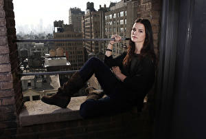 Pictures Jaimie Alexander Staring Brunette girl Wearing boots Girls
