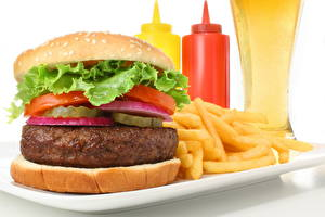 Fotos Hamburger Pommes frites Fast food Lebensmittel