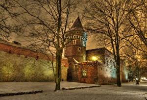 Fotos Polen Nacht Bäume Ast HDRI  Städte