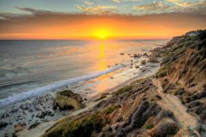 Fotos Küste USA Meer Sonnenaufgänge und Sonnenuntergänge Strand Wolke Horizont HDRI Kalifornien Malibu Sonne Natur