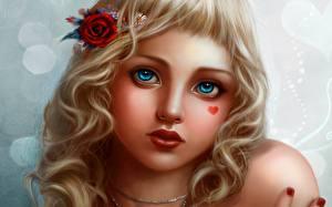 Bilder Augen Blick Gesicht Haar Dunkelbraun Fantasy Mädchens