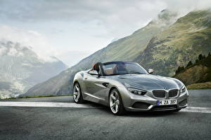 Photo BMW Mountains Headlights Front Metallic Luxury Roadster 2012 Roadster Zagato Cars