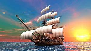 Schiffe Meer Himmel Sonnenaufgänge und Sonnenuntergänge Segeln Horizont Sonne 3D-Grafik Natur