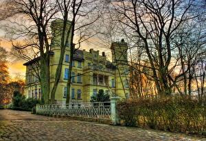 Hintergrundbilder Burg Deutschland Bäume Ast HDRI Gehweg Schwansbell Städte