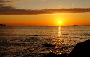 Bilder Sonnenaufgänge und Sonnenuntergänge Meer Himmel Horizont Sonne Natur