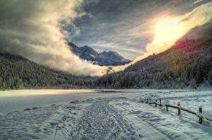 Fotos Landschaftsmalerei Österreich Gebirge Wälder Himmel Schnee Wolke HDR Alpen Natur