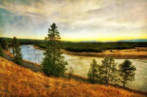 Fotos & Bilder Park Flusse Landschaftsmalerei USA Gras HDR Yellowstone Montana Wyoming Natur fotos