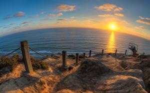 Bilder Sonnenaufgänge und Sonnenuntergänge USA Meer Küste Horizont San Diego Kalifornien Sonne Natur
