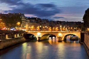 Bakgrunnsbilder Frankrike Broer Elver Elv Natt Gatelykter  byen