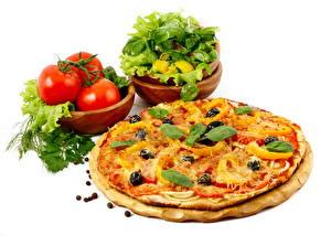 Hintergrundbilder Pizza Tomate Basilikum das Essen