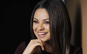 Wallpaper Mila Kunis Glance Smile Teeth Hair Brunette girl Celebrities Girls