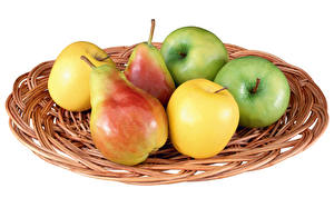 Wallpapers Fruit Still-life Apples Pears White background